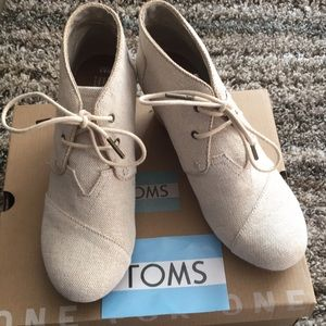 Toms Desert Wedge Bootie -natural metallic linen